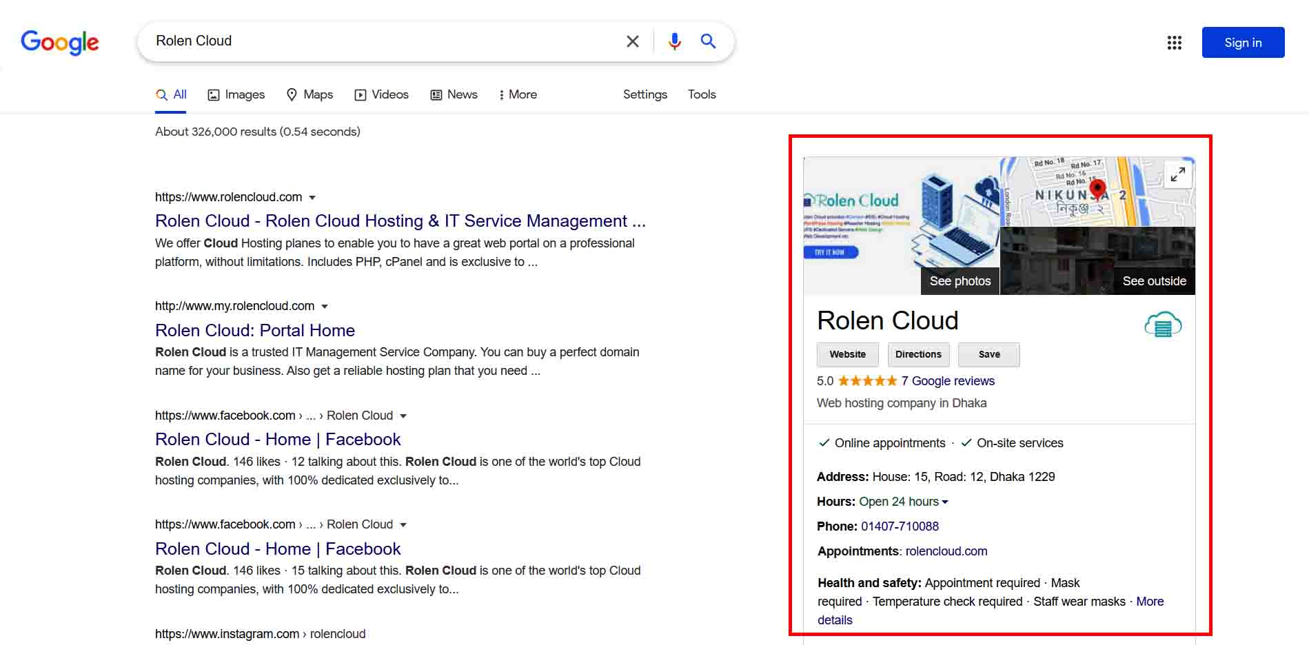 Google my business page of rolen cloud